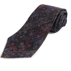 Christian Dior Mens Tie, Brown Paisley Silk USA